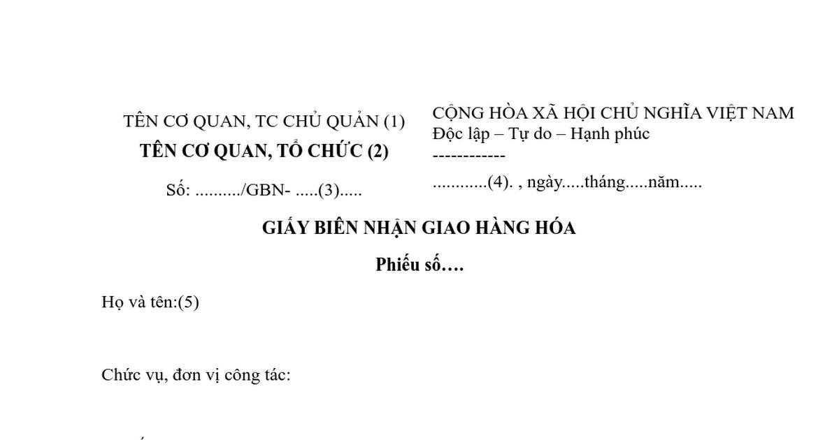 Giay Bien Nhan Hang Hoa