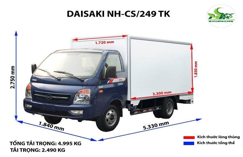 Kích thước xe tải 5 tấn