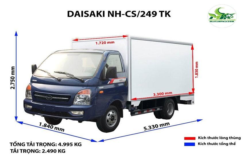 Kích thước xe tải chở hàng nhẹ chuyên dụng của dịch vụ vận tải Sài Gòn